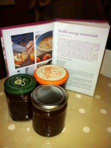 Three of the ten jars of marmalade I made today